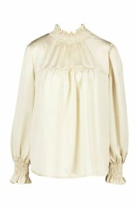 Womens Satin High Neck Shirred Cuff Top - beige - 14, Beige