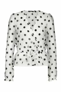 Womens Wrap Over Organza Mesh Polka Dot Blouse - white - 12, White