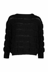 Womens Bobble Knit Jumper - black - L, Black