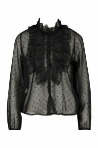 Womens Dobby Mesh Frill Blouse - black - 10, Black