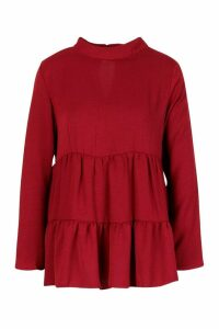 Womens Woven High Neck Tunic Smock Top - red - 10, Red