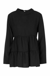 Womens Woven High Neck Tunic Smock Top - black - 10, Black