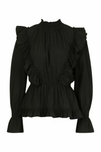 Womens Ruffle Shirred Neck Peplum Top - Black - 16, Black