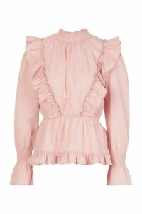Womens Ruffle Shirred Neck Peplum Top - pink - 14, Pink