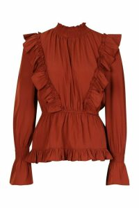 Womens Ruffle Shirred Neck Peplum Top - Orange - 12, Orange