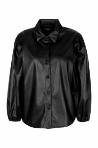 Womens Pu Extreme Puff Sleeve Shirt - Black - 12, Black