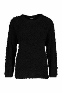 Womens Oversized Teddy Knitted Jumper - black - M/L, Black