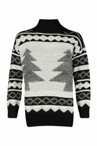 Womens Premium Roll Neck Christmas Tree Jumper - black - M, Black