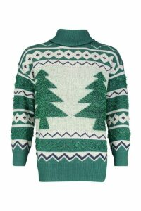 Womens Premium Christmas Roll Neck Jumper - green - M, Green
