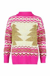 Womens Premium Christmas Roll Neck Jumper - Pink - M, Pink