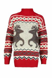 Womens Christmas Roll Neck Reindeer Tinsel Jumper - red - M, Red