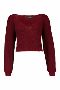 Womens V Neck Fisherman Crop Jumper - red - M, Red
