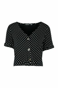 Womens Polka Dot Ruffle Sleeve Top - black - 14, Black