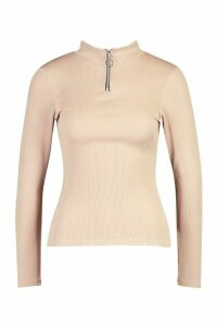 Womens Petite Zip Up Ribbed High Neck Top - beige - 14, Beige