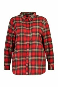 Womens Plus Oversized Brushed Check Boyfriend Shirt - red - 20, Red