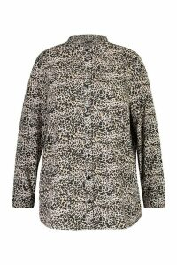 Womens Plus Leopard Oversized Shirt - brown - 20, Brown