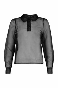 Womens Organza Pearl Button Detail Shirt Blouse - black - 14, Black