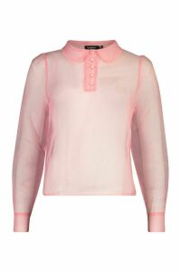 Womens Organza Pearl Button Detail Shirt Blouse - Pink - 14, Pink