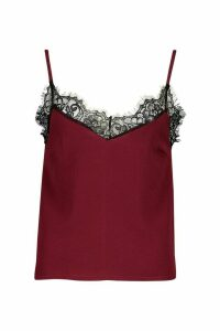 Womens Eyelash Lace Cami - red - 10, Red