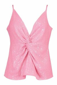 Womens Neon Sequin Knot Front Cami - Pink - 10, Pink
