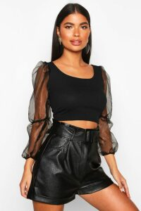 Womens Petite Organza Volume Sleeve Crop Top - black - 4, Black