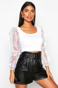 Womens Petite Organza Volume Sleeve Crop Top - White - 4, White