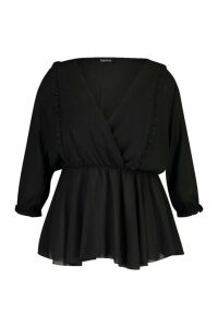 Womens Plus Ruffle Detail Wrap Peplum Blouse - Black - 20, Black