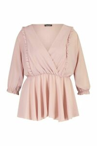 Womens Plus Ruffle Detail Wrap Peplum Blouse - pink - 18, Pink