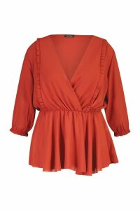 Womens Plus Ruffle Detail Wrap Peplum Blouse - orange - 24, Orange
