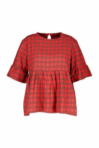 Womens Plus Woven Check Smock Top - red - 20, Red