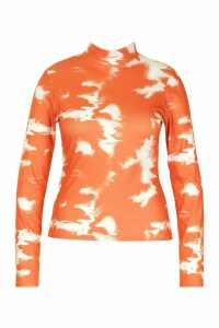 Womens Plus Tie Dye Rib Turtleneck Top - orange - 20, Orange