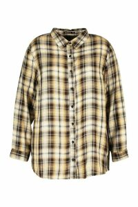 Womens Plus Check Oversized Shirt - beige - 18, Beige
