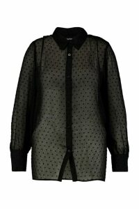 Womens Plus Heart Print Mesh Oversized Shirt - black - 18, Black