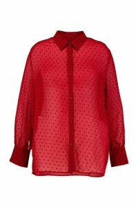 Womens Plus Heart Print Mesh Oversized Shirt - Red - 18, Red