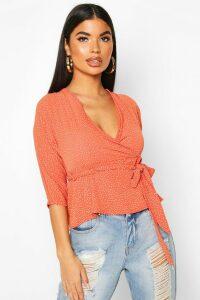 Womens Petite Woven Ditsy Polka Dot Kimono Wrap Blouse - orange - 14, Orange