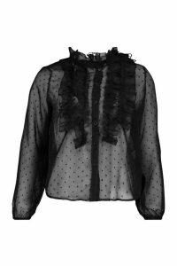 Womens Dobby Spot Ruffle Detail Shirt - black - 12, Black