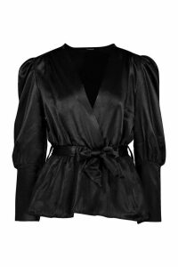 Womens Satin Puff Sleeve Wrap Top - black - 8, Black