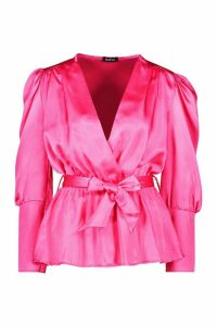 Womens Satin Puff Sleeve Wrap Top - Pink - 12, Pink