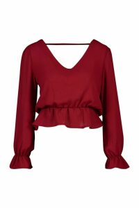 Womens Flare Cuff V Neck Peplum Top - red - 10, Red