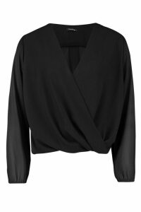 Womens Woven Wrap Front Long Sleeve Top - black - 14, Black