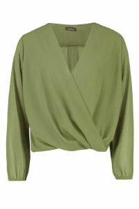Womens Woven Wrap Front Long Sleeve Top - green - 14, Green