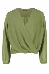 Womens Woven Wrap Front Long Sleeve Top - green - 14, Green