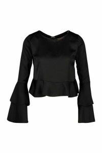 Womens Satin Double Ruffle Peplum Blouse - black - 16, Black