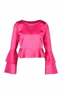 Womens Satin Double Ruffle Peplum Blouse - Pink - 6, Pink