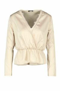 Womens Satin Lace Up Trim Wrap Top - beige - 14, Beige