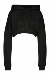 Womens The Basic Cropped Hoody - Black - 14, Black