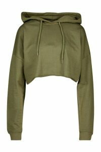 Womens The Basic Cropped Hoody - Green - 14, Green