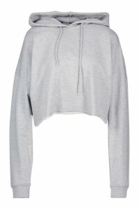 Womens The Basic Cropped Hoody - Grey - 12, Grey