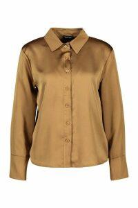 Womens Satin Shirt - beige - 10, Beige