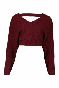 Womens Oversized Batwing Rib Knit Jumper - red - M/L, Red